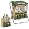 Picnic Time Gardener Seat and Tools in Green