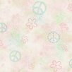 Brewster Home Fashions Totally for Kids Joplin Peace Flower Toss Wallpaper