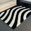 DonnieAnn Company Shaggy Black/Ivory Abstract 2-Tone Large Wave Area Rug