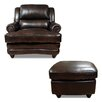 Luke Leather Bentley Arm Chair and Ottoman
