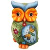 Alpine Owl Statue with Butterfly and Floral Detail in Front Statue