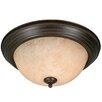 Wildon Home ® Multi Family Flush Mount with Tea Stone Glass in Rubbed Bronze