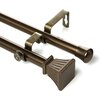 <strong>Rod Desyne</strong> Trumpet Steel Double Curtain Rod and Hardware Set