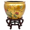 "16"" Leaf Birds and Flowers Fish Bowl in Gold"