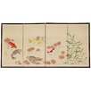 """Oriental Furniture 24"""" x 48"""" The 5 Fish Chinese Painting 4 Panel Room Divider"""