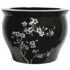 "14"" Flower Blossom Fish Bowl in Shiny Black"