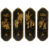 Oriental Furniture 4 Piece Ladies Curving Wall Décor Set