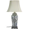 """Oriental Furniture Vase 26"""" H Table Lamp with Empire Shade"""
