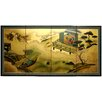 "36"" x 72"" Gold Leaf River View 4 Panel Room Divider"