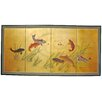 Oriental Furniture Gold Leaf Seven Lucky Fish 4 Panel Room Divider