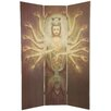 """<strong>Oriental Furniture</strong> 70.25"""" x 46.5"""" Bamboo Tree Thousand Arm Kwan Yin 3 Panel Room Divider"""