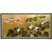 "36"" Gold Leaf Sunset Cranes Room Divider"