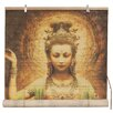Oriental Furniture Kwan Yin with Lotus Bamboo Roller Blind