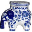 <strong>Oriental Furniture</strong> Floral Elephant Stool