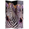 "<strong>70.88"" x 47.25"" Elephant and Zebra 3 Panel Room Divider</strong> by Oriental Furniture"