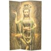 "<strong>Oriental Furniture</strong> 70.25"" x 46.25"" Bamboo Tree Kwan Yin 3 Panel Room Divider"