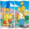 """Oriental Furniture 84"""" x 51"""" Tall Double Sided Simpsons Kids 3 Panel Room Divider"""