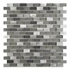 "EliteTile Commix Mini Subway 1/2"" x 1 7/8"" Brushed Aluminum and Glass Mosaic Tile in Sonoma"