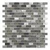 """EliteTile Commix Mini Subway 1/2"""" x 1 7/8"""" Brushed Aluminum and Glass Mosaic Tile in Sonoma"""