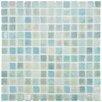 "EliteTile Colgadilla Square 7/8"" x 7/8"" Glass Mosaic in Agua Mother of Pearl"