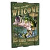 American Expedition Largemouth Bass Wooden Cabin Sign Wall Decor