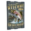 American Expedition Rainbow Trout Wooden Cabin Sign Wall Decor