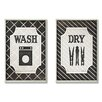 Stupell Industries Home Décor Wash and Dry Laundry Duo 2 Piece Graphic Art Plaque Set