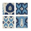 Home Décor 4 Piece Alternating Ikat Canvas Wall Art in Blue Set