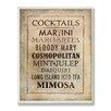 Stupell Industries Cocktails Menu Vintage Advertisement Plaque