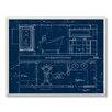 Stupell Industries Master Bath Blueprint Graphic Art Plaque