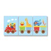 Stupell Industries The Kids Room 3 Piece Animals On Whimsical Train Rectangle Wall Plaques