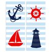 Stupell Industries The Kids Room 4 Piece Stripe Nautical Quad Wall Plaque Set