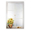 Stupell Industries Faux Window Mirror Screen with Sunflowers Painting Print