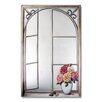 Stupell Industries Faux Window Mirror Screen with Wrought Iron and Cabbage Rose Painting Print