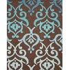 InnerSpace Luxury Products Cosette Fleur-de-Lis Brown/Blue Rug
