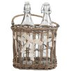 A&B Home Group, Inc 2 Bottles in Basket with Ribbon (Set of 2)