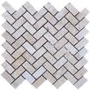 "Tumbled 12"" x 12"" Travertine Herringbone Mosaic in Beige"