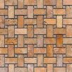 <strong>Epoch Architectural Surfaces</strong> Noce Random Sized Tumbled Travertine Basketweave Mosaic in Brown