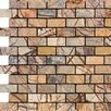 "Epoch Architectural Surfaces 2"" x 1"" Tumbled Marble Mosaic in Rain Forest Brown"
