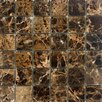 "Epoch Architectural Surfaces 2"" x 2"" Polished / Tumbled Marble Mosaic in Emperador Dark"
