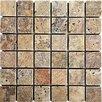 "<strong>Epoch Architectural Surfaces</strong> Scabos 2"" x 2"" Tumbled Travertine Mosaic in Multi"
