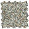 Solistone Decorative Pebbles Random Sized Interlocking Mesh Tile in Cayman Blue