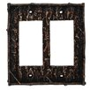 HiEnd Accents Pine Bark Double Rocker Plate (Set of 4)