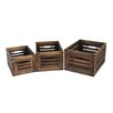 Screen Gems 3 Piece Wooden Box Set with Metal Corner (Set of 2)