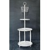 <strong>Cottage Round Metal 3-Tier Shelf with Basket</strong> by Creative Co-Op