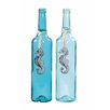 Creative Co-Op Waterside Decorative Glass Bottle with Tin Seahorse and Raffia (Set of 2)