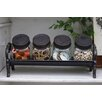 Creative Co-Op Inspired Home Cast Iron Stand with 4 Glass Jars with Lid (Set of 5)