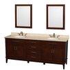 "Wyndham Collection Hatton 80"" Double Bathroom Vanity Set with Mirror"