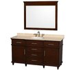"Wyndham Collection Berkeley 60"" Single Bathroom Vanity Set with Mirror"