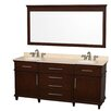 "Wyndham Collection Berkeley 72"" Vanity Set with Double Sink"
